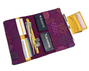 Travel wallet, purple passport wallet, travel organizer, family passport holder, vacation wallet, vacation organizer, travel billfold