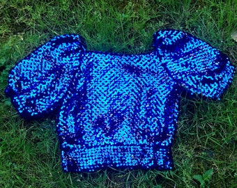 Vintage Royal Blue Sparkly Sequin Sweater with Puff Sleeves