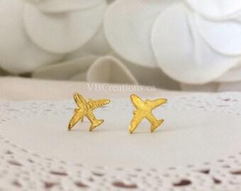 Plane Earrings - Pilot Earrings - Plane Jewelry - Dainty Earrings - Studs Earrings - Silver - Travel Jewelry - Gift for her - Sister Gift