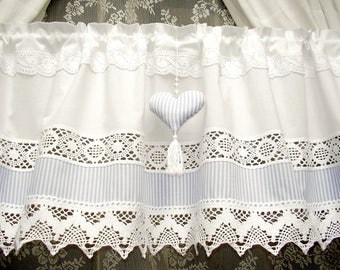 Cantonni re dentelle blanche etsy for Cantonniere shabby chic