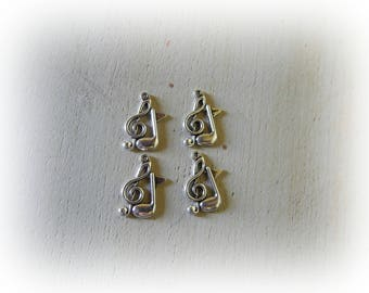 21 * 12 mm silver metal music Notes 4 charms