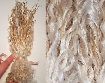Teeswater locks /50g award winning / cream fleece / curly fleece / curls / dolls hair / spinning / felting / luxury / fibre ringlets