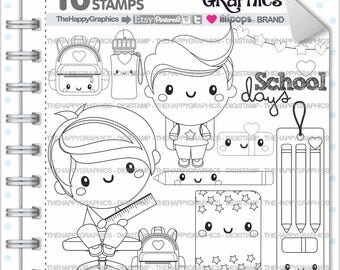 80%OFF - Back to School Stamp, COMMERCIAL USE, Digi Stamp, Digital Image, School Digistamp, Kawaii Stamps, Student Digital Stamps, Study