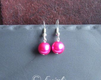 B01 1 pair of earrings in silver and fuchsia Pearl 10mm beads