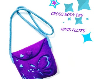 Purple Cross Body Handbag, Felt Bag, Handmade Purse, Cross Body 3D Felted Bag, Hand Felted Designer Bag, Needle Felted Purse