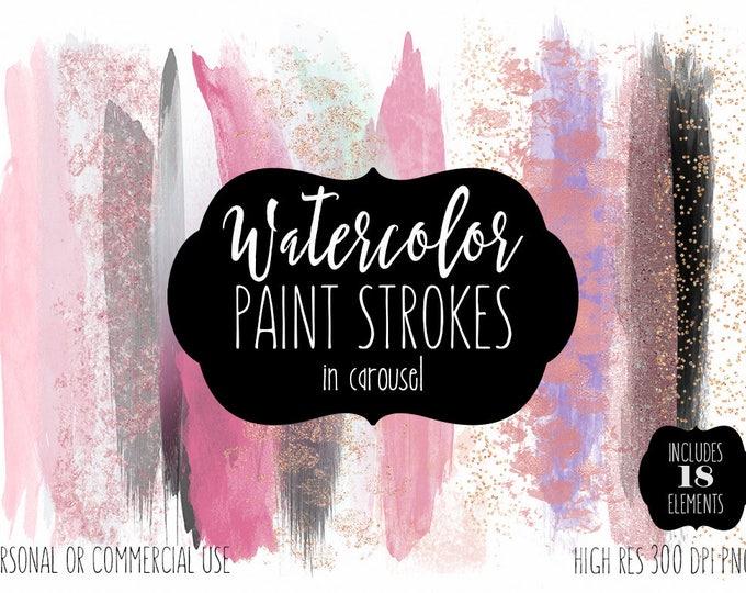 PINK WATERCOLOR Paint Strokes Clip Art Commercial Use Clipart Watercolour Blog Headers Blush Lavender Rose Gold Confetti Shop Logo Graphics