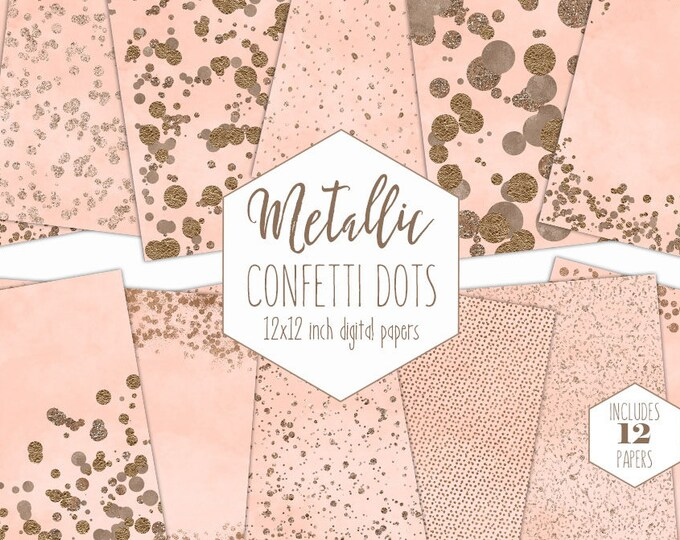 ROSE GOLD FOIL & Peach Digital Paper Pack Confetti Dot Backgrounds Metallic Scrapbook Paper Wedding Patterns Party Printable Baby Clipart