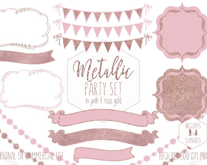 PINK & ROSE GOLD Party Clipart Commercial Use Planner Clip Art Glitter Bunting Banners Frames Birthday Baby Shower Wedding Digital Graphics