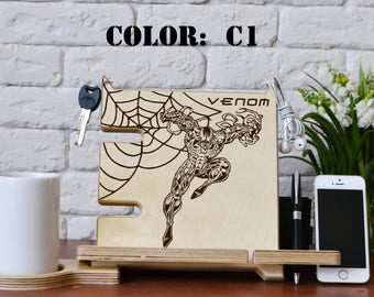 Venom cosplay Spiderman Docking station laser engraving - venom costume venom shirt snake mask superhero Helmet Venom and Spider man decal