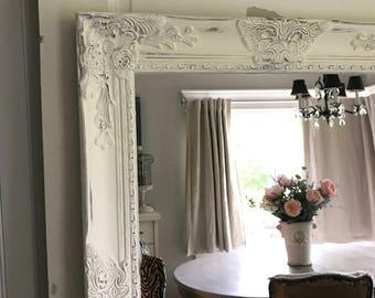 distressed mirror shabby chic mirror white mirror farmhouse home decor large wall