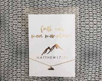Faith can move mountains gold chain mountain necklace jewelry scripture with 4x6 gold foil card