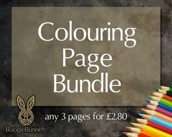 Any 3 Mandala Printable PDF Colouring Pages / Mandala Art / Adult Coloring Page PDF Set / Coloring Page Bundle / Printable Art