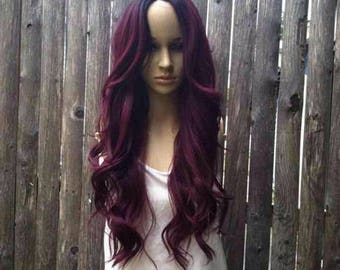 Ombré dark roots to maroon red wine red lace part wig 27'' curly