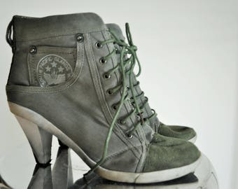 Vintage Boots / High heels / Sneakers / 37 / 6,5 / Shoes / Old School / high / Khaki / Army /