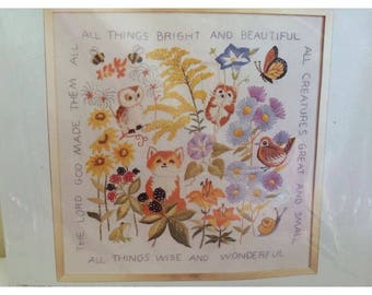 """CM Crewel PICTURE KIT 16"""" x 16"""" Erica Wilson All Things Bright and Beautiful 1979"""