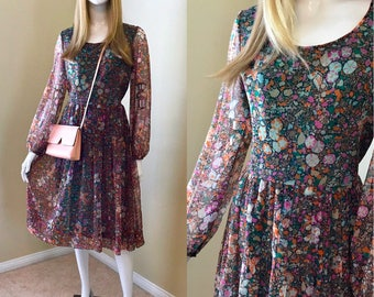 Floral Dress, 70's Peasant Dress, Jane Andre for Bullocks Sheer Floral Hippie Boho Dress, Floral Print, Psychedelic Print- size M-L