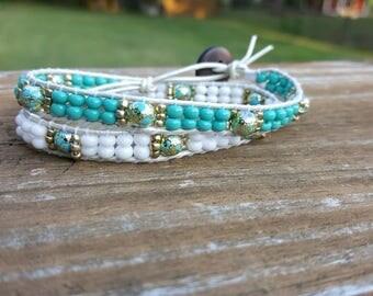 Turquoise and white beaded leather wrap bracelet