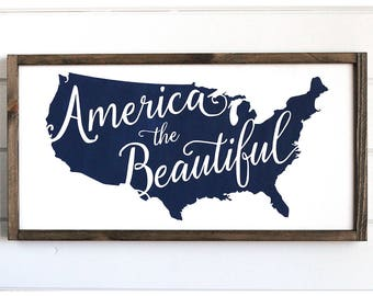 """America the Beautiful Wood Sign, Fourth of July Decor, Patriotic Decor, USA Wood Sign, 4th Of July Wood Signs, 24"""" x 12"""""""