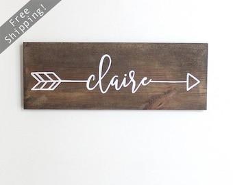 """Arrow Name Sign, Wood Arrow Wall Art, Wood Arrow Decor, Wood Arrows, Woodland Nursery Decor, Rustic Name Sign, 15"""" x 5.5"""""""