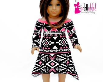 American made Girl Doll Clothes, 18 inch Doll Clothing, Pink/Black/White Asymmetrical Dress made to fit like American girl doll clothes