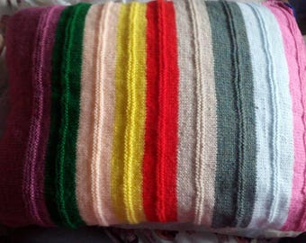 """Multiple Striped Pinks Greens Etc Knitted Covered Pillow 21"""" x 15"""""""