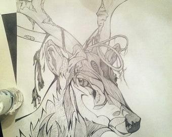 Elk Stylized Patterned Pencil Drawing