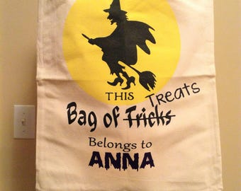 Witch trick or treat bag, personalized halloween bag, canvas tote, halloween trick or treating bag, boy halloween bag, girl halloween bag