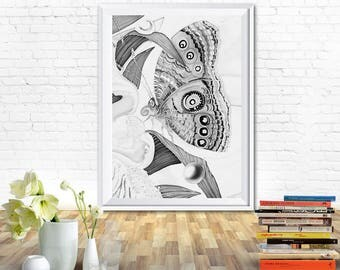 Butterfly print, butterfly art, black and white prints, art prints, printable, kitchen prints, wall prints, fine art prints, printable art
