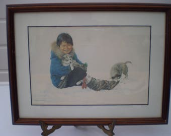Dorothy Francis Art : Framed Picture/Print - 'Inuit Boy With Puppies' - Canadian Artist - Inuits/Children