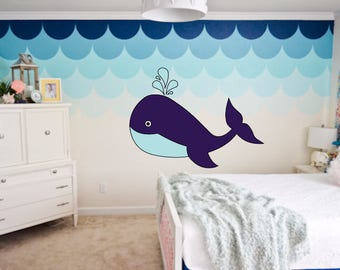Big Whale Wall Decal, Whale Decal Set with water, Nursery Wall Decor, Whale Sticker,  Yeti Decal