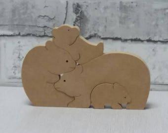 Wooden bears, Bears,freestanding bears ,set of family bears, nursery decoration, children's decoration, blank,decoupage
