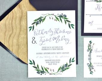 Boho Style Wedding Invitations   Rustic Wedding Invitations   Plum Wedding  Invitations   Vintage Plum Invitations