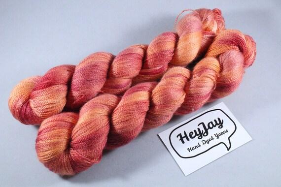 Hand Dyed Lace Merino/Silk Yarn - Tequila Sunrise