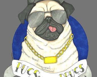 Pugs Not Drugs 6x4 Matte Photo Print