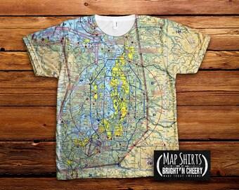 Custom Aviation Sectional Map Tshirt, All Over Print tee, aviation shirt, pilot gift idea, airplane shirt, aviator gift, flight map