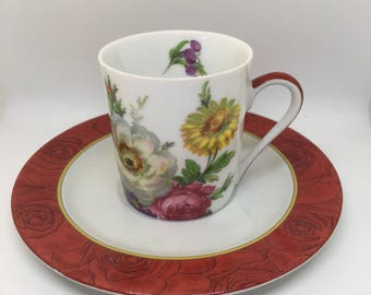 Vintage cup and saucer, Limoges cup and saucer, Limoges Collectables, Phillipe Deshoulieres, limoges trio, retro porcelain, french porcelain
