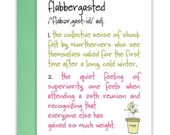 Flabbergasted Funny Friendship Card - Reunion Card - School Reunion - Weight Loss Congratulations - Funny Just Because Card - Snail Mail