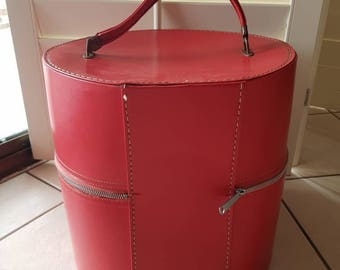 Vintage Vinyl Wig Carrying Case/Travel bag/Travins USA/Retro Hat Box