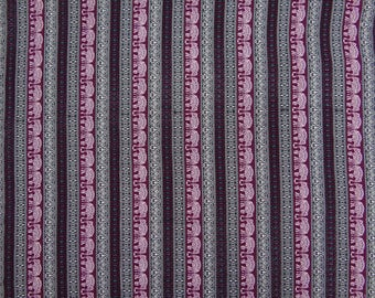 """Designer Polyester Fabric, Elephant Print, Apparel Fabric, Home Decor, Plum And Black Fabric, 44"""" Inch Fabric By The Yard ZBP96A"""