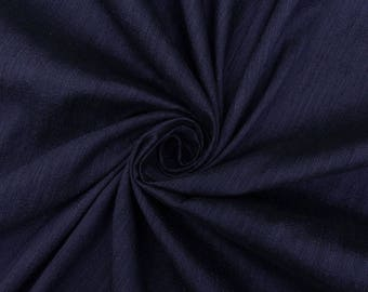 """Khadi Silk Solid Pattern Fabric, Quilt Material, Navy Blue Fabric, Dressmaking Fabric, 45"""" Inch Fabric By The Yard PZB2A"""