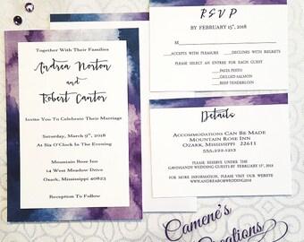 Purple & Blue Watercolor Borders Wedding Invitation Set