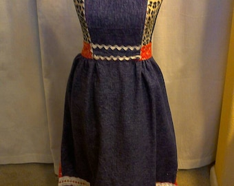 Reversible Vintage Apron  Red and Blue. Beautiful Details and well made.
