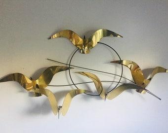 Curtis Jere | Birds in Flight | Wall Sculpture | Brass