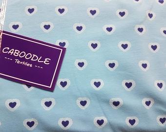 Blue Hearts, Cotton Lycra Jersey Knit Fabric