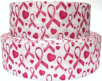 "1.5"" Pink Ribbons and Hearts  Breast Cancer Awareness Dog Collar - Side Release Buckle (Martingale Option Available)"