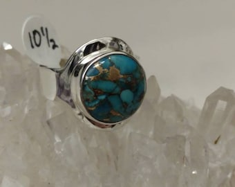Copper Blue Turquoise Ring Size 10 1/2