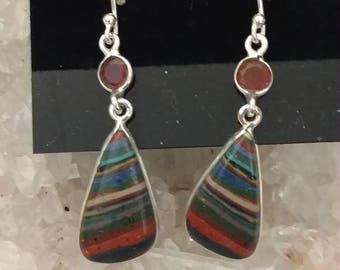 Rainbow Calsilica & Carnelian Earrings