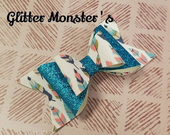 Teal Feathers Hair Bow, Feathers Hair Bow, Teal Headband, Glitter Feather Bow, Leather Bows, Teal Glitter Bow,Toddler Bows, Girls Hair Clips