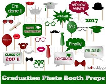 Graduation photo props. Printable. DIY 2017 Grad selfie station props. Green, silver, marron. Instant download. Graduation photo booth props