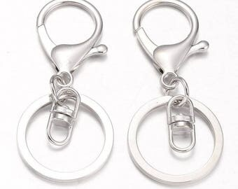 250 x Silver / Platinum Key Clasps Swivel Ring | Key Clasp | Key Ring | Swivel Clasp | Lobster Clasp | Key Chain | 0320